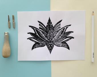 Linoleum print flower