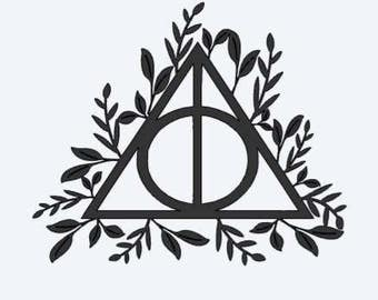 Deathly Hallows Decal with leaves