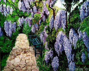Lilac Flowers Unique New Year Christmas Gift Living Dining Room Decor Wisteria lane Colorful Painting Bright Colors Wall Art Cafe Interior