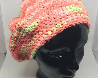 Cotton crocheted slouchy hat