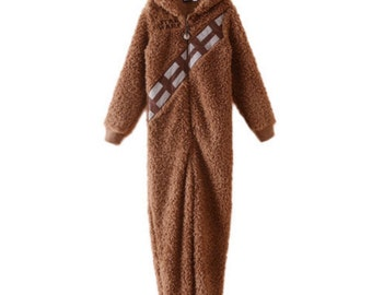 Star Wars Chewbacca aka Chewie One piece Fleece Hoodie Full Body PJ / Jumpsuit For Kids