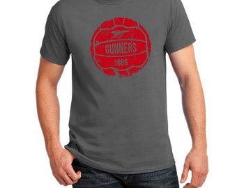 Arsenal Inspired Retro Ball Soccer Tee (Grey/Red)