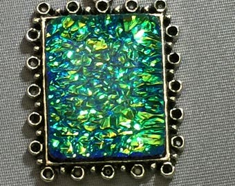 Dichroic Glass Pendant Stunning Color Green/ blue golden color  in a silver tone setting, Full Of Color, Stunning, Fused Glass, Arty