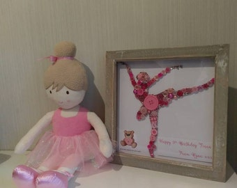 Framed Ballerina button art with embellishments, ballet gift, nursery art, children's bedroom art, birthday gift for a dancer, ballet art