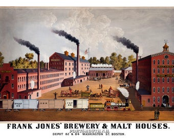 "1880 Frank Jones' Brewery, Portsmouth, NH Ad Poster Art Print 11"" x 17"" Reprint"