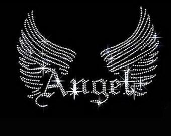 Rhinestone Angel Wings  Ladies T Shirt    or Iron On T Shirt Transfer                                                            JDEU