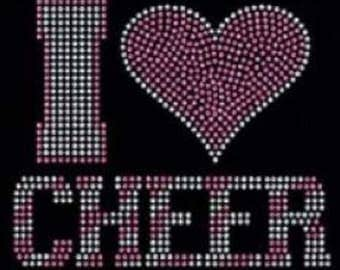 Rhinestone I Love Cheer Lightweight Ladies T-Shirt  or DIY Iron On Transfer    2SWK