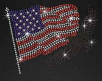 Rhinestone American Flag And Bald Eagle Ladies Lightweight T-Shirt or DIY Iron On Transfer                              VT0U