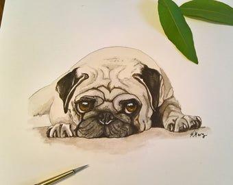 Pet Portrait, dog portrait, custom painted pet portrait, pet painting