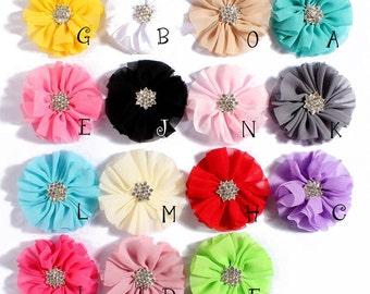 Fluffy Chiffon Flowers+Snow Rhinestone Buttons Ruffled Artificial Fabric Flowers For Baby Headbands Diy Baby Headband Flower Supplies 6.5cm