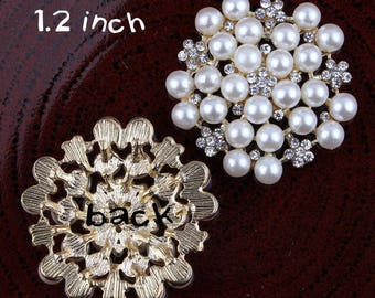 High Quality Pear Rhinestone Buttons Crystal Buttons Silver Alloy Metal Decoration Buttons Flower Center Wedding Embellishment