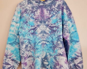Small blue and purple mirror image tie dye long sleeve