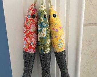 Fabric Sardines LIBERTY of LONDON and linen Handmade  Sardines! Set of 3