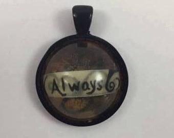 "Pendant with ""Always"" inside & Swirls"