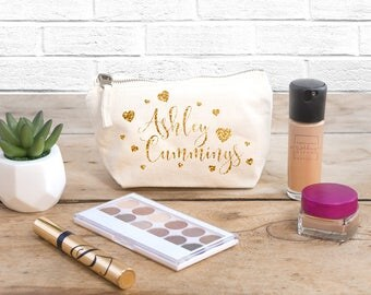 Personalised Makeup & Cosmetic Bag (Full Name With Hearts) - The Perfect Wedding Thank You Gift for your Bridesmaids and Bridal Party