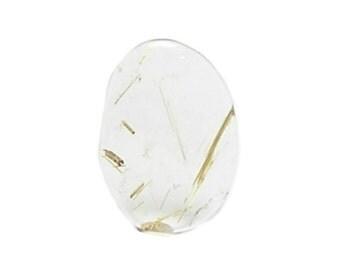 Rutilated Quartz Cabochon, Gem Clear Quartz with Golden Rutile Needles, Polished Semiprecious Loose Jewelry Gemstone Unset Jewel