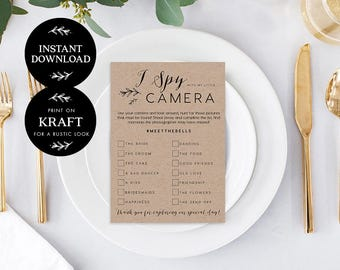 I Spy With My Little Camera Editable pdf Template, INSTANT DOWNLOAD,  Wedding Favor, Wedding Reception Game, Hashtag Sign - Lilly