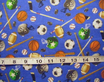 "Sports Fabric Baseball Soccer Football Basketball Hockey Cotton Flannel By The Yard 36"" Long"