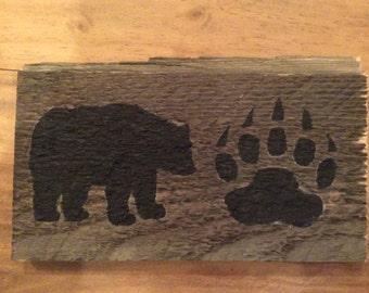 Bear & bear paw print