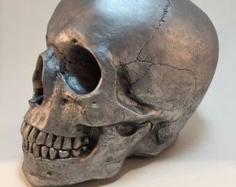 Human Skull - Antique Silver