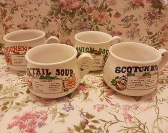 Retro vintage 1970s soup bowls set of 4