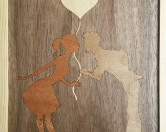 Wooden decor, Gift sister, Original souvenir, Painting of wood, Wood, Eco-friendly gift shop, Red heart, Veneer Makore, European walnut,