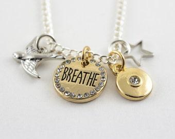 Gold breathe charm necklace, silver bird pendant, silver star pendant, silver bird charm, breathe, breathe charm, gold charm, bride tribe