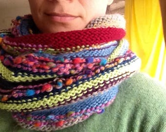 Handmade boho style multicolor scarf wool loop recycling