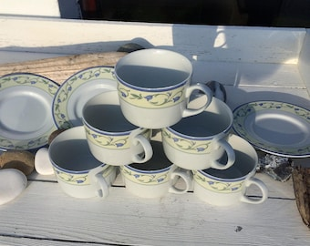 Six vintage Johnson Brothers La Rochelle cups and saucers