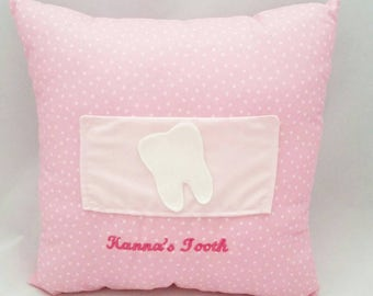personalised tooth fairy cushion, tooth pillow, tooth fairy pouch, bedtime pillow, children's gift, nursery decor, tooth door hanger