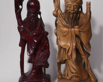 Two Chinese sages wood and resin