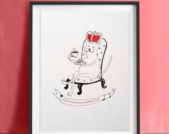 Funny poster cat drink tea artprint, Art print Keep calm and drink tea, art print perfect gift, cat illustration wall art, cat print, cat
