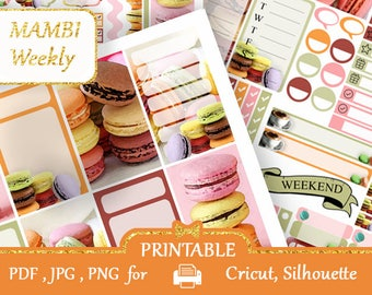 Macaroons & COFFEE Printable Planner Stickers MAMBI Weekly Kit Happy Planner Coffee Macaroons Desserts, Silhouette, Cricut, COUPON codes