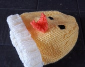 Hand knitted baby chick hat for 03 months baby gift