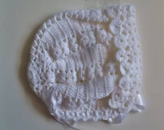Crochet Bonnet White Baby Girl