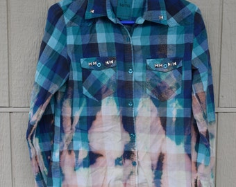 Hand bleached & studded flannel