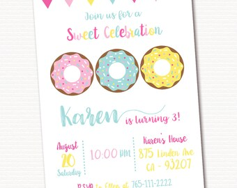 Donut Invitation, Donut Party Invitation, Donut Party Invite, Doughnut Invitation, PRINTABLE