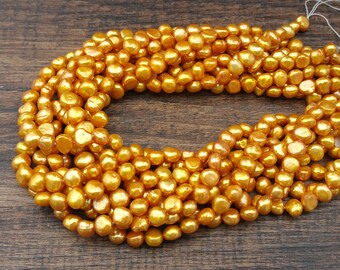 """Yellow gold freshwater pearls 7x9mm beads full 16"""" strand - cultured"""