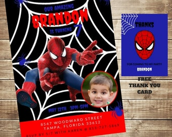 Spiderman Birthday Invitation Personalized with Free Thank You Card