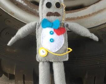 Hand made felt  robot.   Mr. Cogsworth gearingtin.