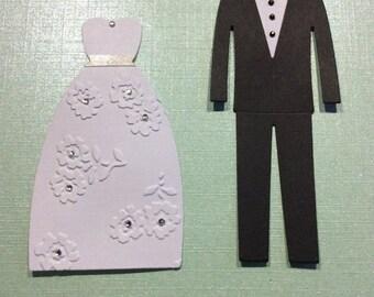 Set of 4 Bride and groom embellished die cuts