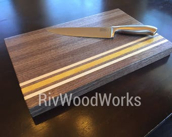 Handmade Exotic Wood Cutting Board -Yellowheart, Walnut, Maple