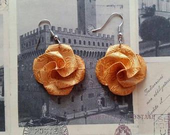 Origami Paper Flower Earrings