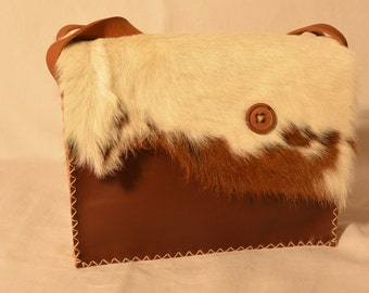 purse pockets leather, single piece made by hand, fur calf