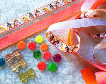 Disney,Princess,Girl,Birthday,Decoration,DYI,Craft,Proyect,Scrapbook,Grosgrain,Bow,Hair