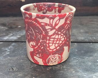 Cup turned stoneware, oxides under enamel, reason horse décor