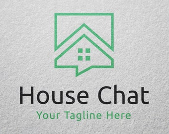house home chat building construction real estate logo template premade graphic design