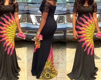 Burning Bush Combination African Print Ankara dress