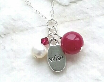 Pink Jade Gemstone Wish Charm Sterling Silver Necklace