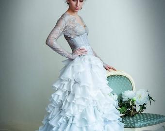 Silk Wedding Skirt With a Train. Silk Ruffle Bridal Skirt. A-line Wedding Skirt. Bridal Separates. Ball Gown Wedding Long Skirt.